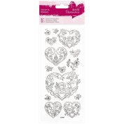 Papermania Glitter Colour In Stickers-Rose Heart