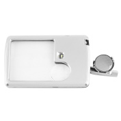 Card Shaped Magnifier, OUTAD 3x 6x LED Illuminated Reading Magnifying Glass+ Leather Case, Silver