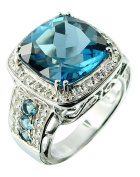 17.75 Carats Fine Grade London Blue Topaz Rhodium-Plated Sterling Silver Statement Ring