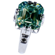 RINGJEWEL 4.56 ct I1 Emerald Real Moissanite Solitaire Silver Plated Engagement Ring Blue Green Colour Size 7