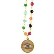 Michal Golan Multicolor Round Evil Eye Pendant Necklace With Double Chain