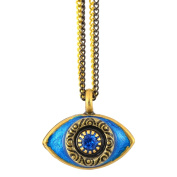 Michal Golan Blue Evil Eye Pendant Necklace With Double Chain
