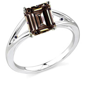 RINGJEWEL 2.77 ct VS1 Emerald Moissanite Solitaire Silver Plated Engagement Ring Brown Colour Size 7