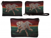 Cheetah Gift Set- Coin Purse, Wristlet and Cosmetic Bag - From My Original Painting- Gift Set