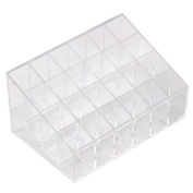 HENGSONG Acrylic 24 Stand Transparent Plastic Trapezoid Makeup Cosmetic Organiser Display Stand