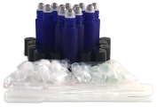 12 New, Premium Quality, 10ml Frosted Cobalt Blue Glass Roll-on Bottles with Stainless Steel Roller Balls, Glass Roller Balls, Plastic Roller Balls, Black Plastic Caps and (3) 3ml Plastic Droppers