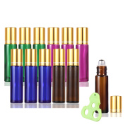 Olilia Glass Roll on Bottles with Metal Roller Balls - Essential Oils Key included 12 Pack of 10ml(1/3oz)