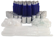 24 New, Premium Quality, 10ml Frosted Cobalt Blue Glass Roll-on Bottles with Stainless Steel Roller Balls, Glass Roller Balls, Plastic Roller Balls, Matte Aluminium Caps and (6) 3ml Plastic Droppers
