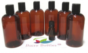 8 oz Amber Plastic Bottle, Black Disc and One BONUS 10 ml Glass Euro Dropper Bottle - 6 pk