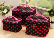 HOYOFO 3 Pcs/Set Travel Makeup Storage Bags Polka Dots Pattern Cosmetic and Toiletry Organiser Bags(3 Sizes/Set