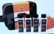 TCD Travel Kit 6 piece- Orange & Camouflage Bag, Pouffe, Face Wash Scrub, Sea Salt Body Lotion, Shampoo & Conditioner, Body Wash
