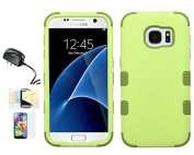 [Olive Green] Galaxy S7 Case, Shockproof Hybrid Dual Layer Protective Cover And Travel Charger Momiji [Screen Guard] Cleaning Cloth