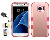 [Rose Gold l/Pink] Galaxy S7 Case, Shockproof Hybrid Dual Layer Protective Cover And Travel Charger Momiji [Screen Guard] Cleaning Cloth