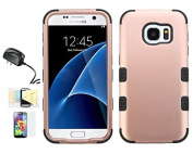 [Rose Gold/Black] Galaxy S7 Case, Shockproof Hybrid Dual Layer Protective Cover And Travel Charger Momiji [Screen Guard] Cleaning Cloth