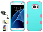 [Teal/Pink] Galaxy S7 Case, Shockproof Hybrid Dual Layer Protective Cover And Travel Charger Momiji [Screen Guard] Cleaning Cloth