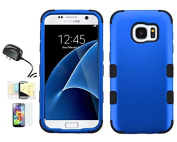 [Blue/Black] Galaxy S7 Case, Shockproof Hybrid Dual Layer Protective Cover And Travel Charger Momiji [Screen Guard] Cleaning Cloth