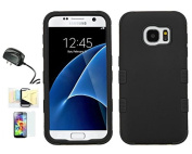 [Black/Black] Galaxy S7 Case, Shockproof Hybrid Dual Layer Protective Cover And Travel Charger Momiji [Screen Guard] Cleaning Cloth
