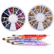 New8Beauty Nail Art Brushes + Dotting Pens AND Rhinestones Wheels Kit