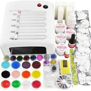 Beauties Factory 36W UV Gel Nail Art Curing Lamp & 12 Pure Solid Gel & Polishing Buffer Files