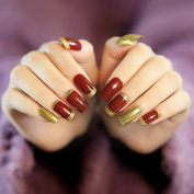 YuNail Honourable 24 Pcs Wine Red with Golden Glitter Long Artificial Nails Acrylic Square Full Fake Nails with Glue Sticker