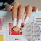 Ultra Long Acrylic Nail Tips White Flat Fake Nails Full Wrap French Nails Kit 24pcs with Display Easy to Use WL