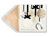 Christmas Card Black White Silver Ornaments