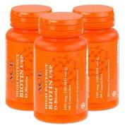 3-Pack of High Potency Biotin USP (D-Biotin) 100mg