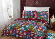 100% Cotton Christmas Bedding Red Patchwork Design Double Duvet Cover Set Santa Claus Elf Rudolph Gingerbread Man Penguin Polar Bear with Snowflake Reverse (Double (200x200cm) + 2 Pillow Cases