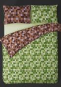 Single bed cotton rich pixel print duvet cover and pillowcase bedding set