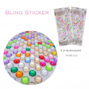Beautiful Bling Shining Rhinestone Crystal Sticker, 260×2 pcs.Colourful Paster Decoration, Self Adhesive Sticker for Girls, 2 in 1 Set, by Lancer La