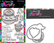Dare 2B Artzy Tea 4 Two Clear Cling Rubber Stamps (15185) and Teapot Die (D12) Bundle of 2