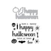 Halloween Trimmings Stamp & Cut Clear Unmounted Rubber Stamp & Steel Die Set