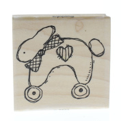 Stampington And Co Roller Bunny Karen Foster Pull Toy Wood Mount Rubber Stamp
