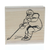 Stampington And Co Hockey Player Skater Wood Mount Rubber Stamp