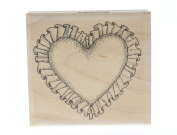 Stampington And Co Ruffled Heart Romance and Love Wood Mount Rubber Stamp