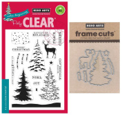 Hero Arts Colour Layering Snowy Tree - Stamp and Die Set with Storage Pocket