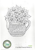 Impression Obsession Teapot of Flowers Cling Rubber Stamp G16260