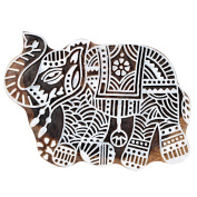 Hashcart (13cm ) Elephant Design Wooden Printing Stamp Block Hand-Carved for Saree Border Making Pottery Crafts Mehandi Printing