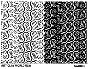 Art Clay World USA Low Relief Texture Plate Sworls Design - 1 Pc.