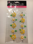 Provo Craft Button Flower Border The Third Dimension Stand-Outs Paper Sculpture Stickers