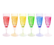 FAMI 6 Glasses LED Wine Champagne Light Up Glasses Champagne Flute Cups Liquid Activated