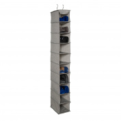 Richards Homewares Storage Canvas Grey 10 Shelf Shoe Organiser 15cm X 30cm X 130cm