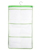 Alyer 6 Storage Pockets Hanging Mesh Shower Caddy,Space Saving Bathroom Accessories and Quick Dry Bath Organiser, Green-Single Hook