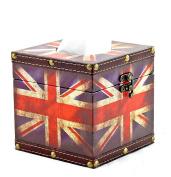 British London Flag Tissue holder Decorative Vintage Design Hinged Refillable TissueBox Holder Cover