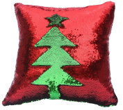 Fengheshun Reversible Sequins Mermaid Pillow Covers 40×40 cm Magical Colour Changing Pillowcase Christmas Decoration
