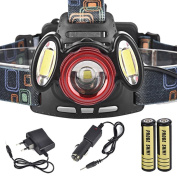 HeadLight, 8000Lm 3x XML T6 Rechargeable Headlamp HeadLight Torch USB Lamp+18650+Charger
