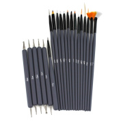 Glow 20 piece Nail Art Brushes and Nail Dotting Tools Set; Grey