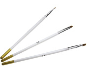 3PCS Wood Handle Nail Art Flat Brush Set Acrylic & UV Gel Brushes Sizes 4 6 & 8