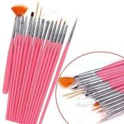 Aababuy 1*set 15pcs Pro Nail Art Design Brush Painting Kit-pink