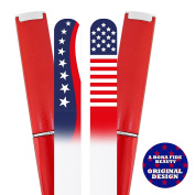 USA Patriotic Flag Manicure Nail File Set in Hard Cases - Made from Genuine Czech Crystal Glass - File Nails Gently in Any Direction